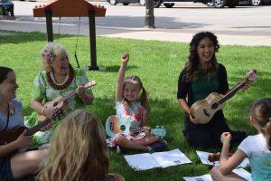 ukulele circle at a park