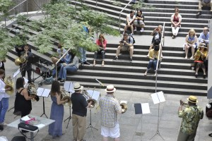 """New York, NY - JUNE 21: Performers play in the French Horn Mass Appeal during """"Make Music Day In New York City"""" day on Lexington Ave on June 21, 2014 in New York, New York. (Photo by Kris Connor/Getty Images for Make Music Day)"""
