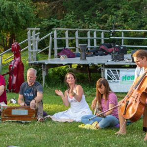 People enjoying a little music in the grass.